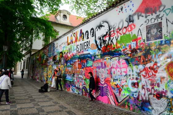 John Lennon Wall (with requisite Japanese tourist in front.