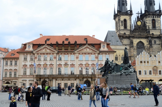 Main Square in Prague - Jan Huss monument is that huge staute in the picture