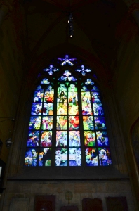 One of the very cool stained glass windows - modern.