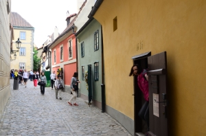 The colorful house of the Golden Lane  at Prague Castle.