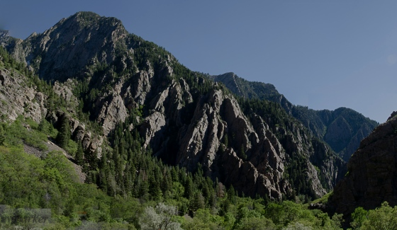 a panorama of Storm Mountain in the Big Cottonwood Canyon.