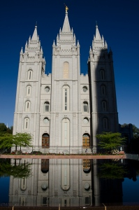 The Mormon Temple in the early morning sun.