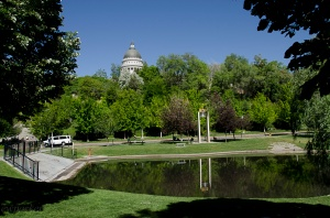 The view from Memory Park back to the Capitol. (the Capitol building is at street level.