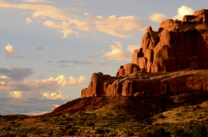 Arches National Park shows off its colors when the rain clouds clear on a June morning.
