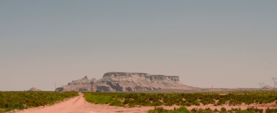 This mesa-butte formation is called the Sleeping Warrior.  From his feathers to his toes - Can you see him?