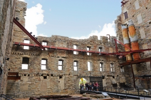 The courtyard entrance to the Mill City Museum.