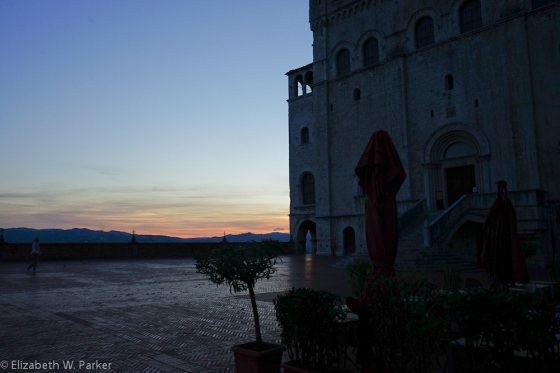 The Sunset from Gubbio's main piazza.