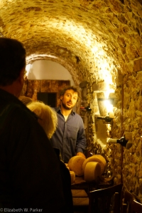 Le Mandrie owner takes us to see the cheeses aging