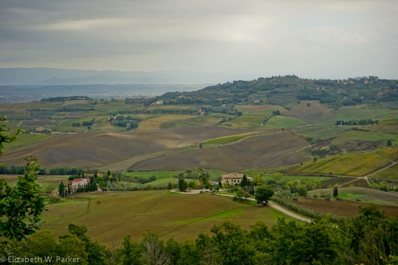 Tuscany is more open than Umbria - wide vistas like this replace views hemmed in by the Apennines.