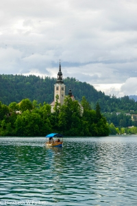 The Chapel of St. Mary on the island of Bled with its equally famous bell tower.