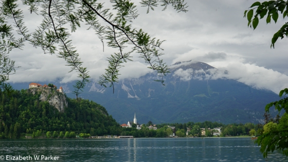 View of the area. The church in the photo is St. Martin. The Bled castle is on the hill.