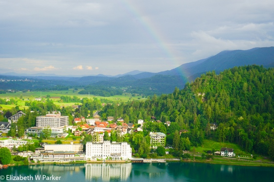 A rainbow greeted us on our exit from the Bled Castle. The white building lit by the evening sun is our hotel.