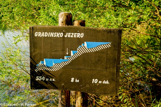 This image explains many things: (Jezero is the Croatian word for lake). The arrow shows you which lake in the chain you are looking at - one of these signs appears by the trail at every lake in the chain. Focus on the white hills protruding up from the cross-hatched rock bed. Those are the tufa barriers that the falls. They are still growing.