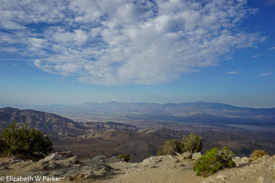 Keys View. On the far left just above the mountain look for a light blue strip. That is the Salton Sea.