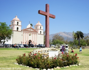 Santa Barbara Mission (Note tourists and cars...)