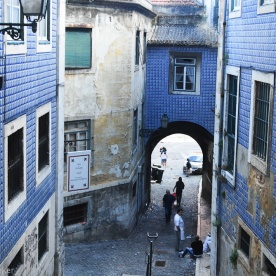 Alfama District - Here there are many buildings decorated with tiles.